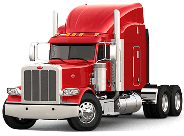 red peterbilt semi with sleeper